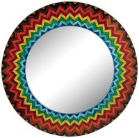 "Vibrant Starburst 32"" Round Multi-Color Wall Mirror ..."