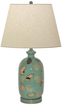 Seafoam Shell Hand-Painted Porcelain Table Lamp - #8W751 ...