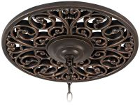 "French Scroll 16"" Wide Bronze Ceiling Medallion"