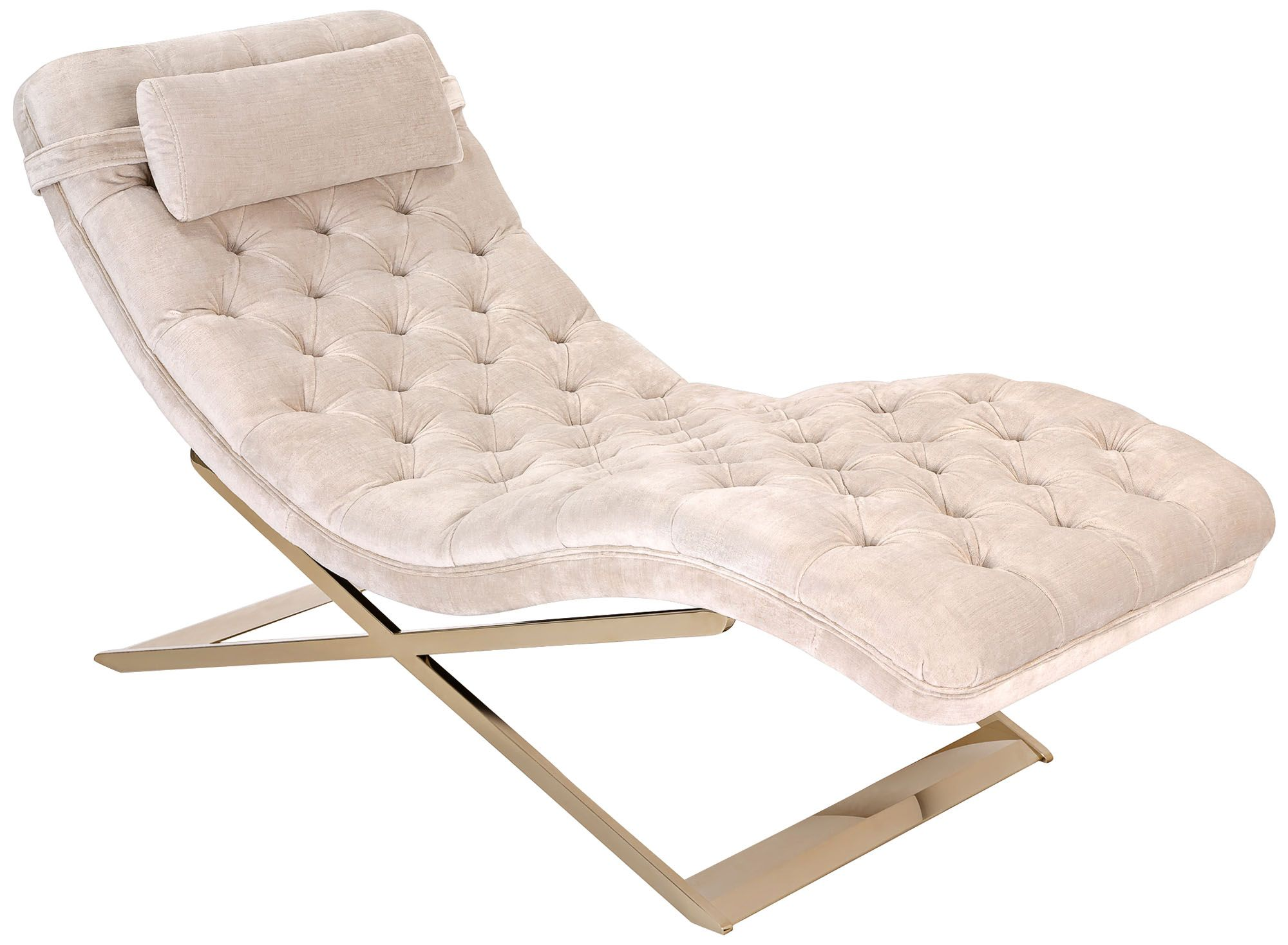 Nampa Champagne TuftedVelvet Indoor Chaise Lounge