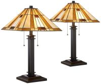 Giselle Bronze and Tiffany Glass Accent Table Lamp Set of ...