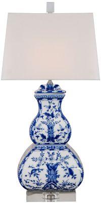 Blue Birds Square Gourd Porcelain Table Lamp - #9K932 ...