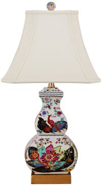 Tobacco Leaves Multi-Color Square Gourd Table Lamp ...
