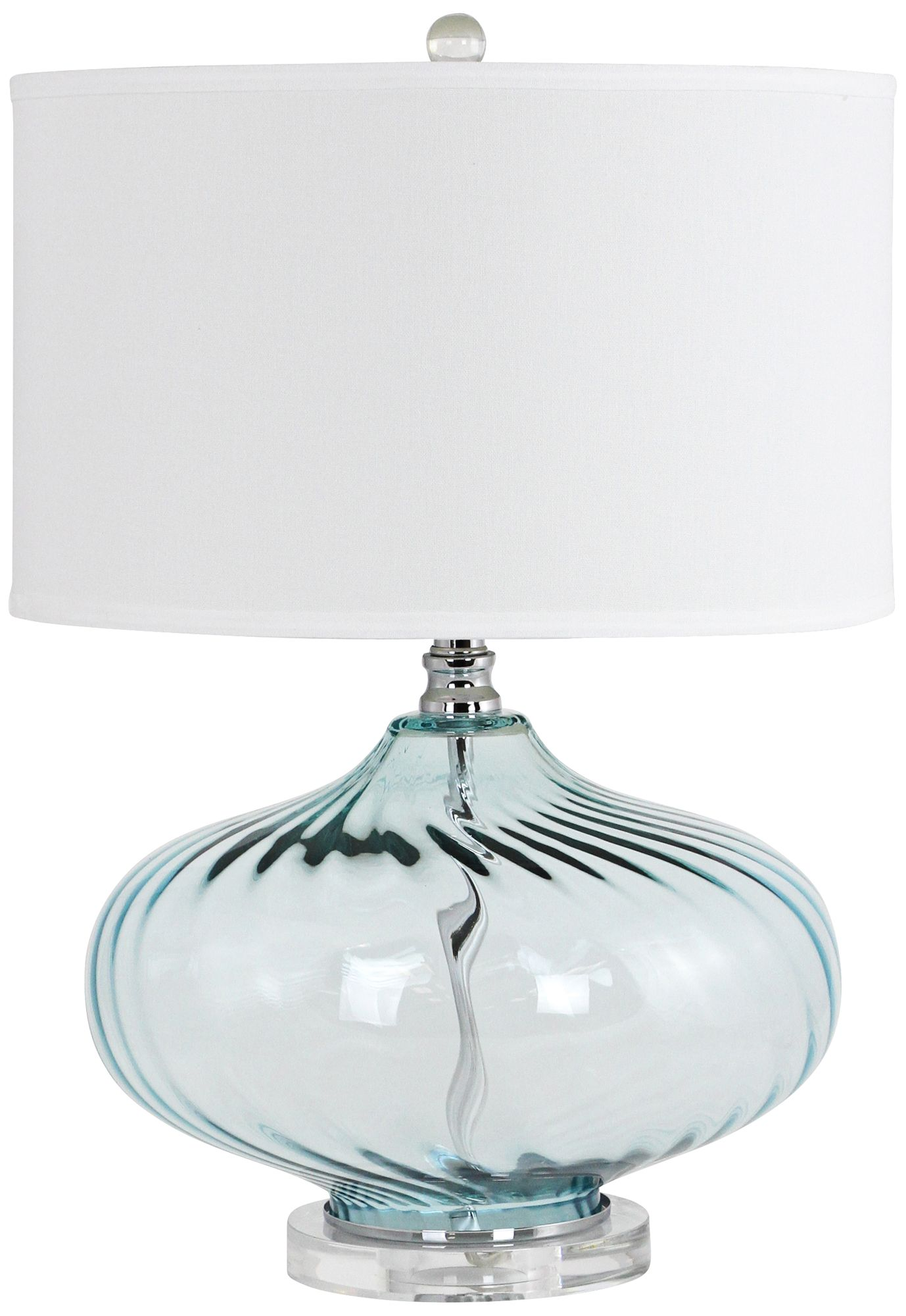 Kamille Fluted Blue Glass Jug Table Lamp