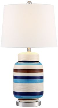 Clovis Blue and Brown Striped Table Lamp - #9M866 | Lamps Plus