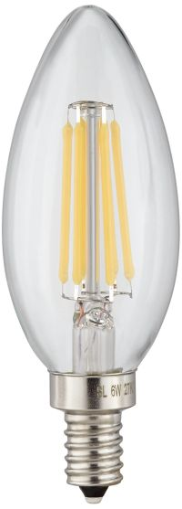 60W Equivalent Clear 6W LED Dimmable Filament Candelabra ...