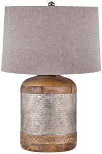 Lauren Mango Wood and German Silver Drum Table Lamp ...