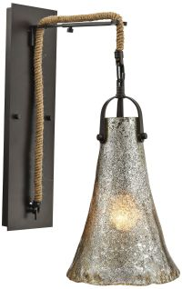 """Hand Formed Glass 20"""" High Oil Rubbed Bronze Wall Sconce ..."""