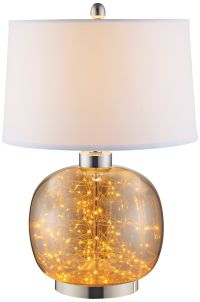 Glenlowe Cognac Glass LED Table Lamp with Night Light ...