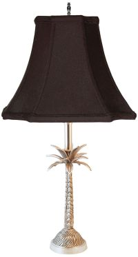 Tropical Palm Tree Pewter Table Lamp with Black Shade