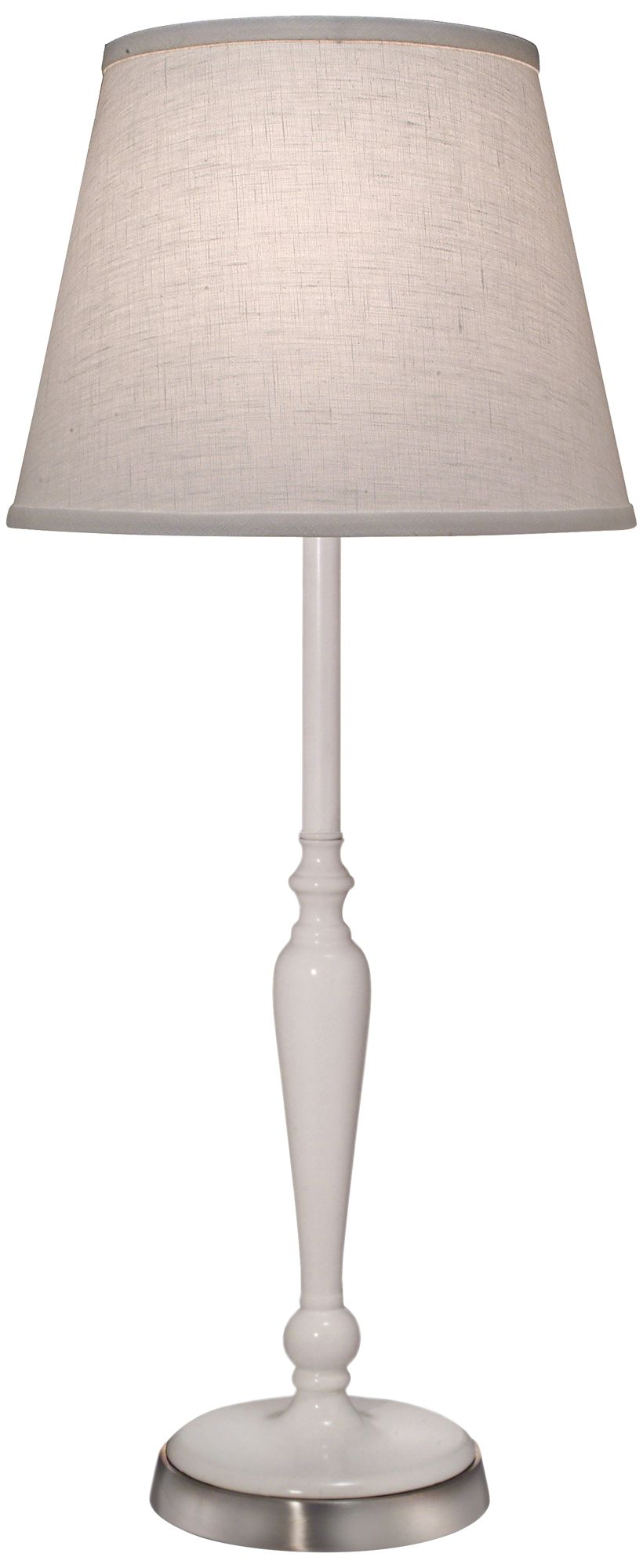 Stiffel Glossy White Metal Buffet Table Lamp