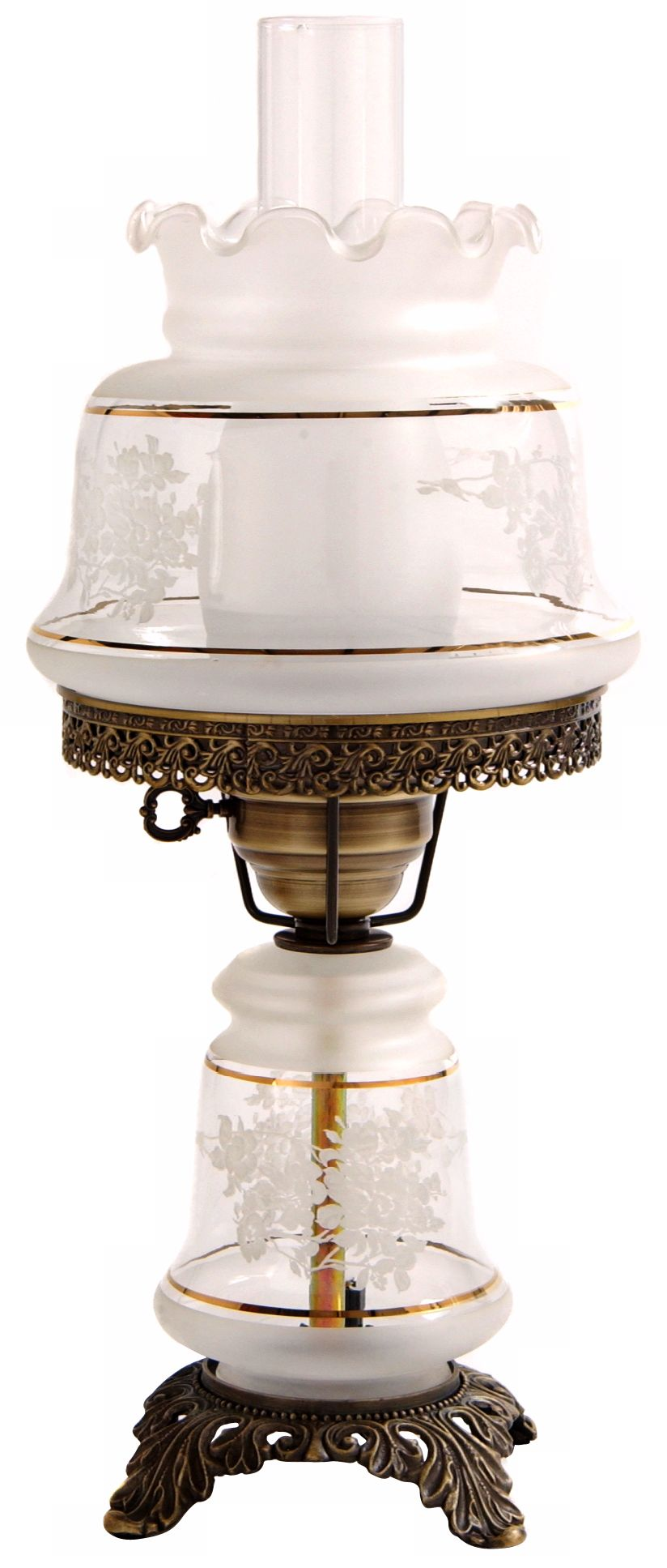 Small Etched White and Gold Night Light Hurricane Table