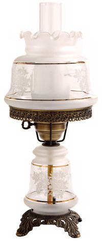 Small Etched White and Gold Night Light Hurricane Table ...