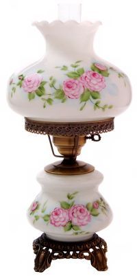 Pink Red Roses Medium Hurricane Night Light Table Lamp - # ...