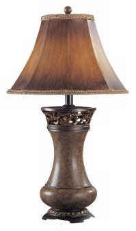 Brown Leather Panel Shade Table Lamp - #H1284 | Lamps Plus