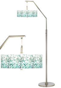 Aqua Mosaic Giclee Shade Arc Floor Lamp - #H5361-9D588 ...
