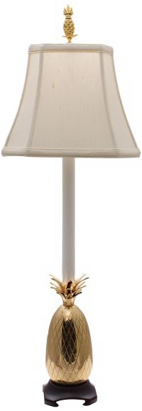 Tropical Brass White Shade Pineapple Buffet Table Lamp - # ...