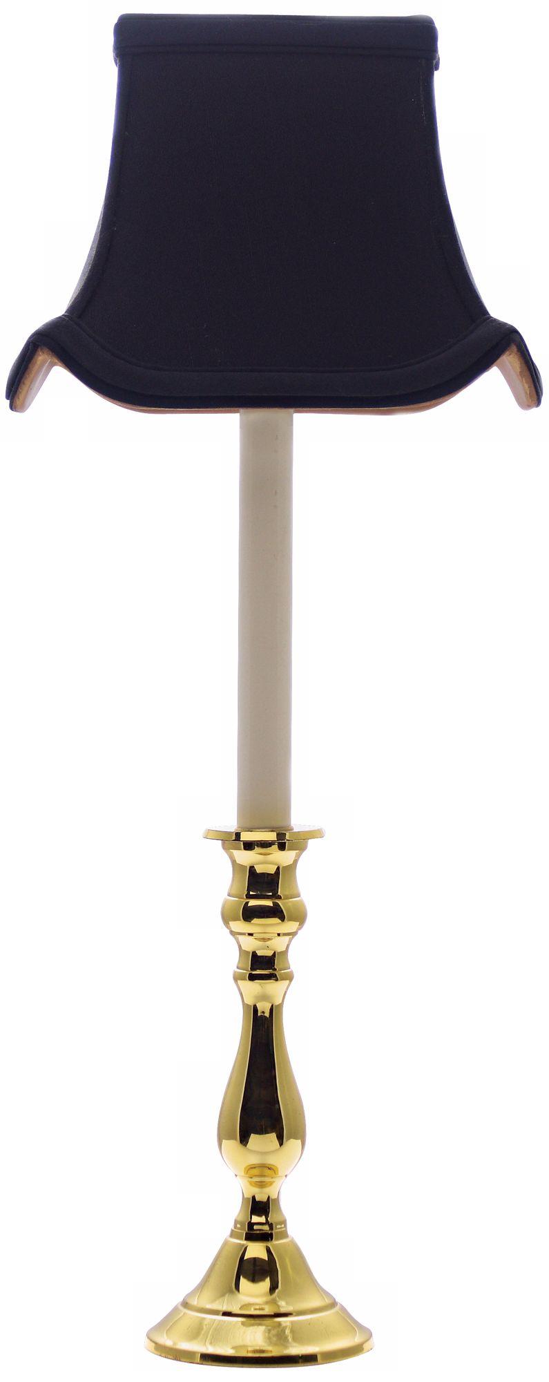 Polished Brass Black Shade Candlestick Buffet Lamp