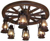 "Amberwood Black Lanterns 36"" Wagon Wheel Chandelier - # ..."