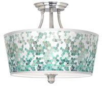 Aqua Mosaic Tapered Drum Giclee Ceiling Light - #M1074 ...