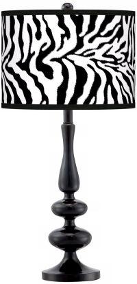 Safari Zebra Modern Gloss Black Base Table Lamp - #N5714 ...