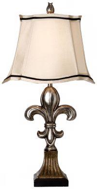 Antique and Comono Silver Fleur-De-Lis Table Lamp - #P4073 ...