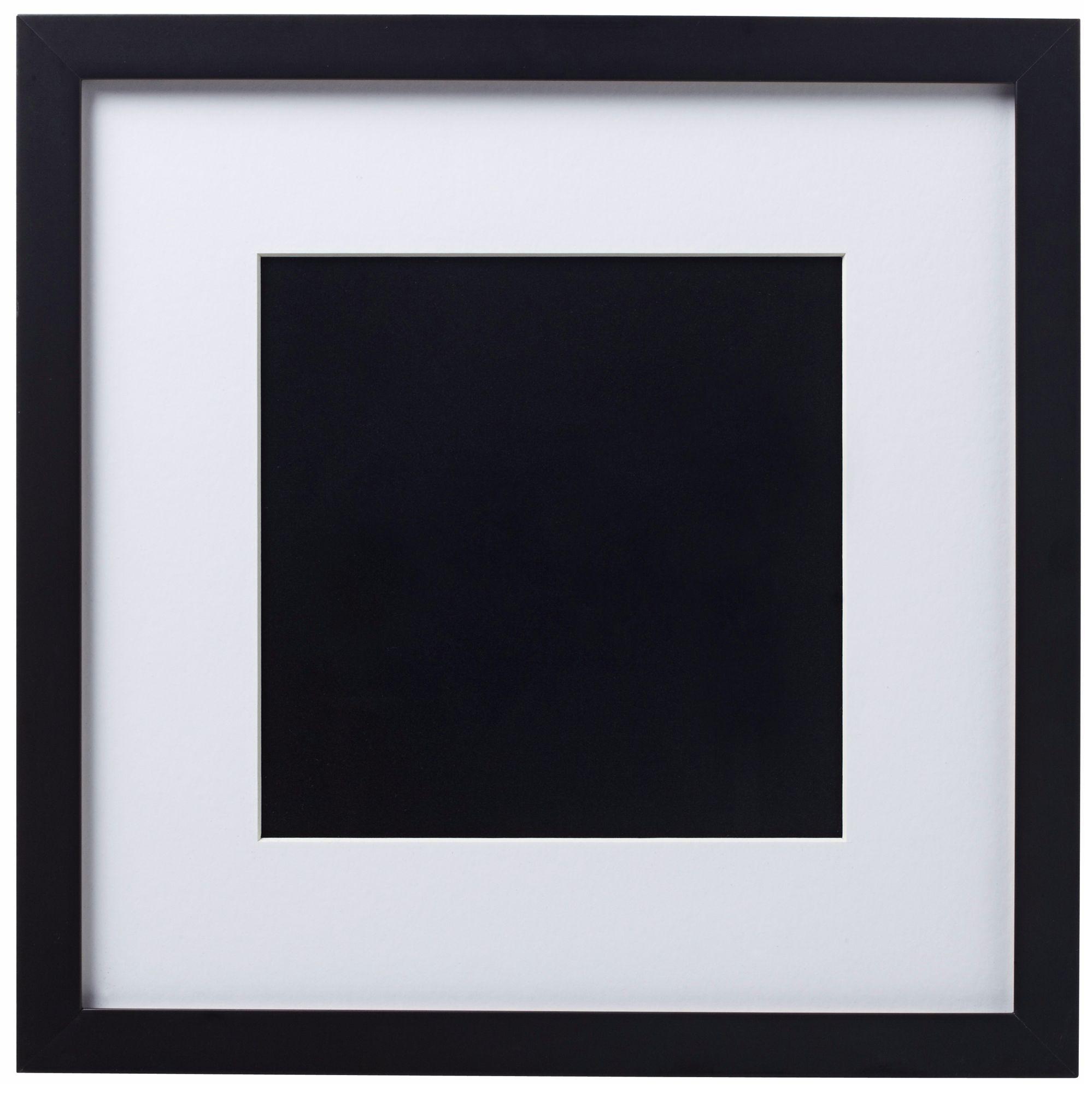 14 x 14 black finish with white matting wall art frame