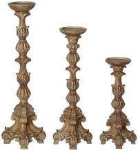 Exotic Carved Pillar Candle Holder Set of 3 - #U2744 ...