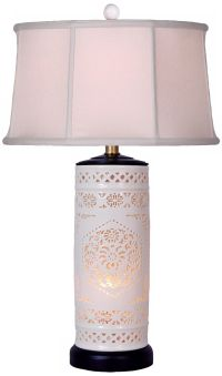 Pierced Bone China with Drum Shade Night Light Table Lamp ...
