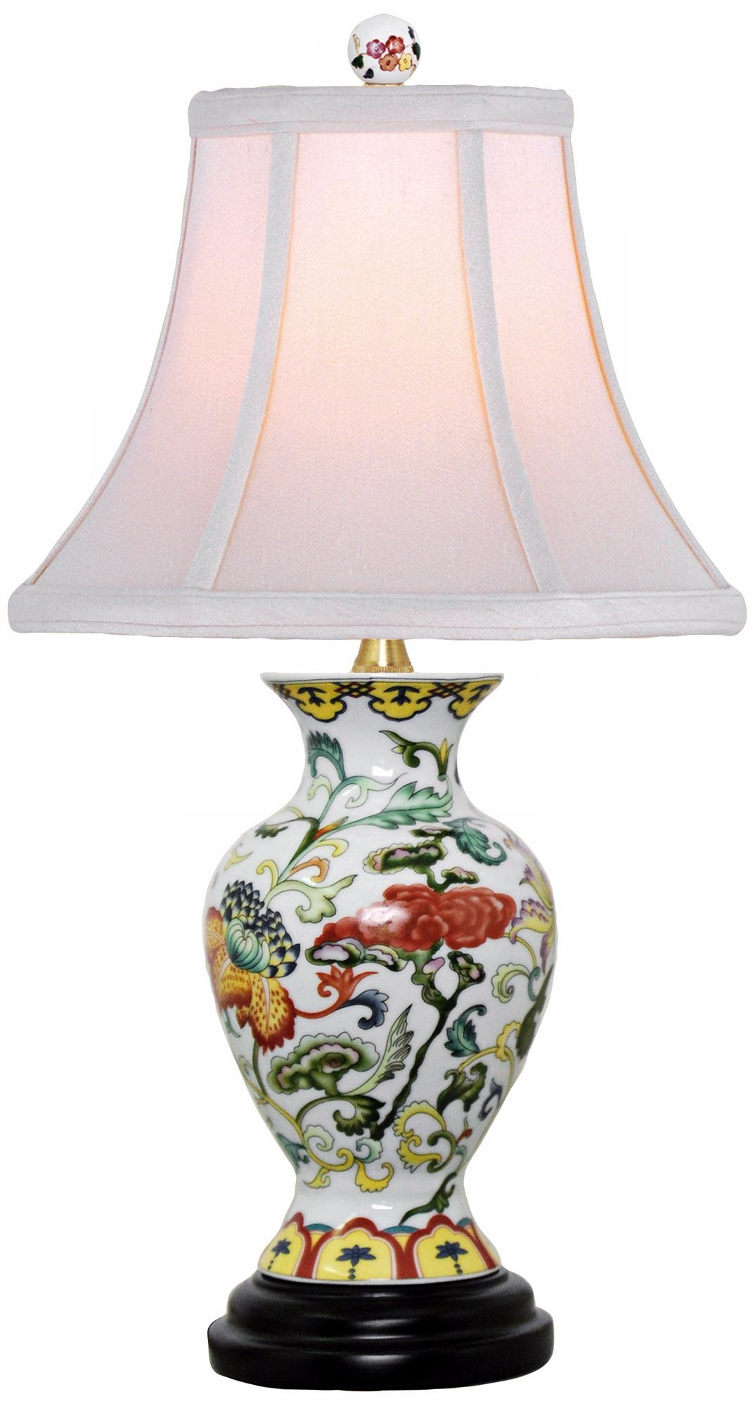 Scrolled Floral Urn Porcelain Table Lamp