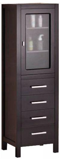 "Dark Espresso 65"" High Solid Oak Linen Cabinet - #X3039 ..."