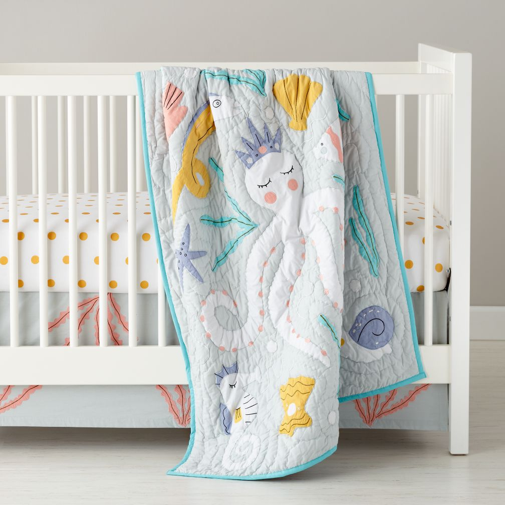 marine bean bag chairs grey oversized chair baby bedding: life octopus crib bedding | the land of nod