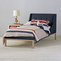 Gallery Navy Upholstered Wing Bed | The Land of Nod