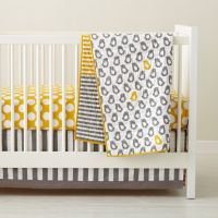 Baby Crib Bedding: Baby Grey & Yellow Patterned Crib ...