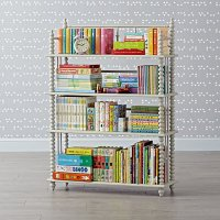 Jenny Lind Light Grey Bookcase | The Land of Nod