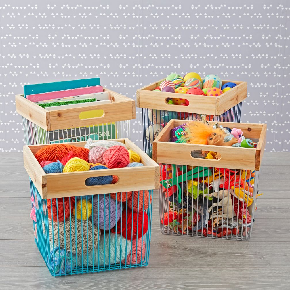 Wood and Wire Cube Bin  The Land of Nod
