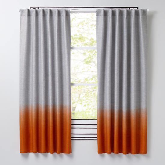 "Half Dipped Orange 96"" Curtain The Land Of Nod"
