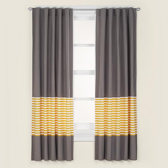 Kids' Curtains Kids Grey & Yellow Curtain Panels The Land Of Nod