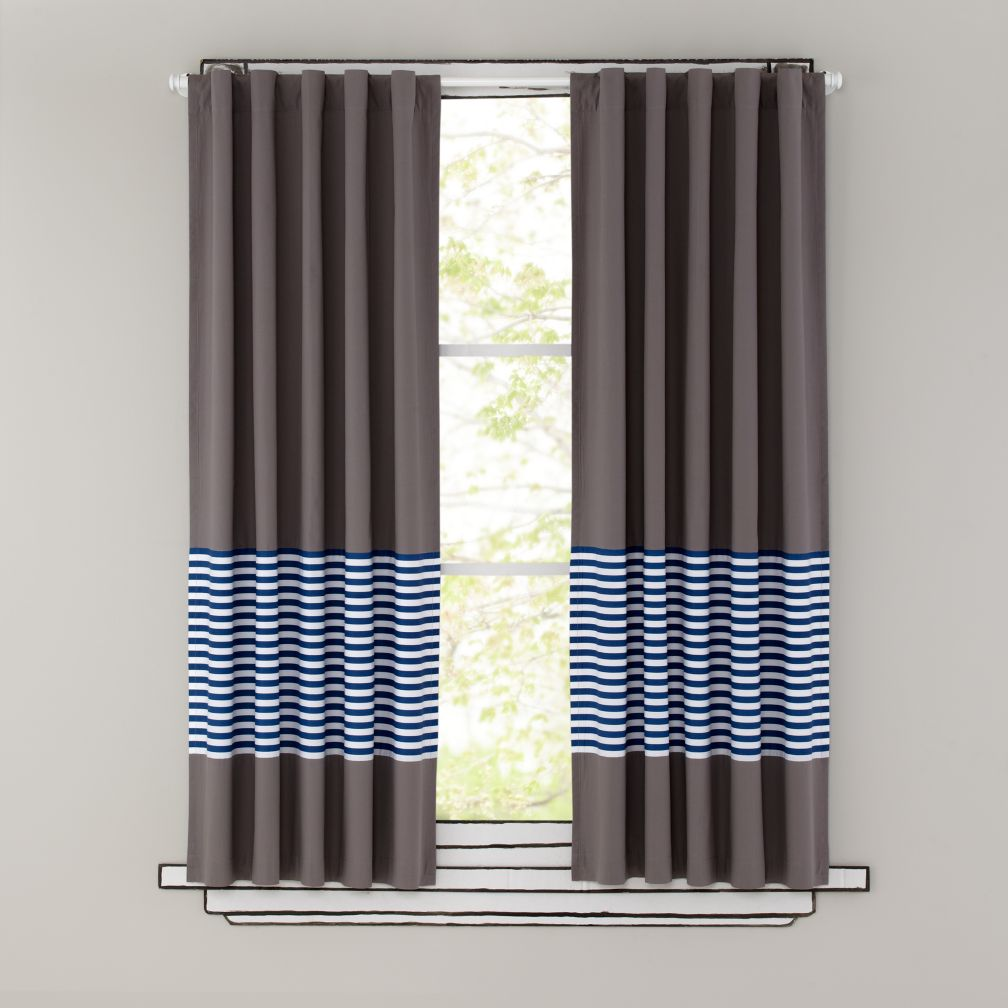 Kids curtains blue stripe grey window curtains 63 blue striped