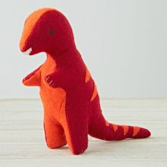 Stuffed Animal Chair Wooden Cushion Set Red T-rex | The Land Of Nod