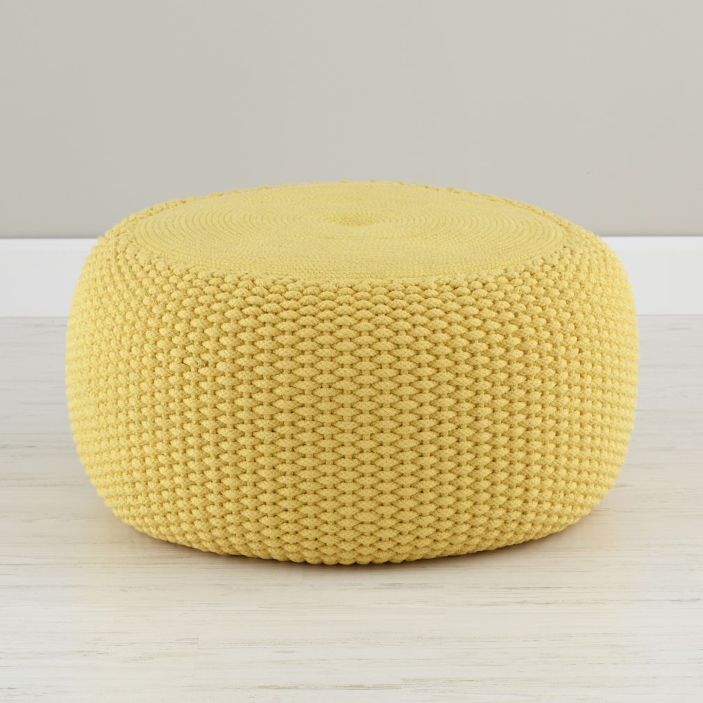 bean bag chair for toddler metal farmhouse chairs yellow braided pouf | the land of nod