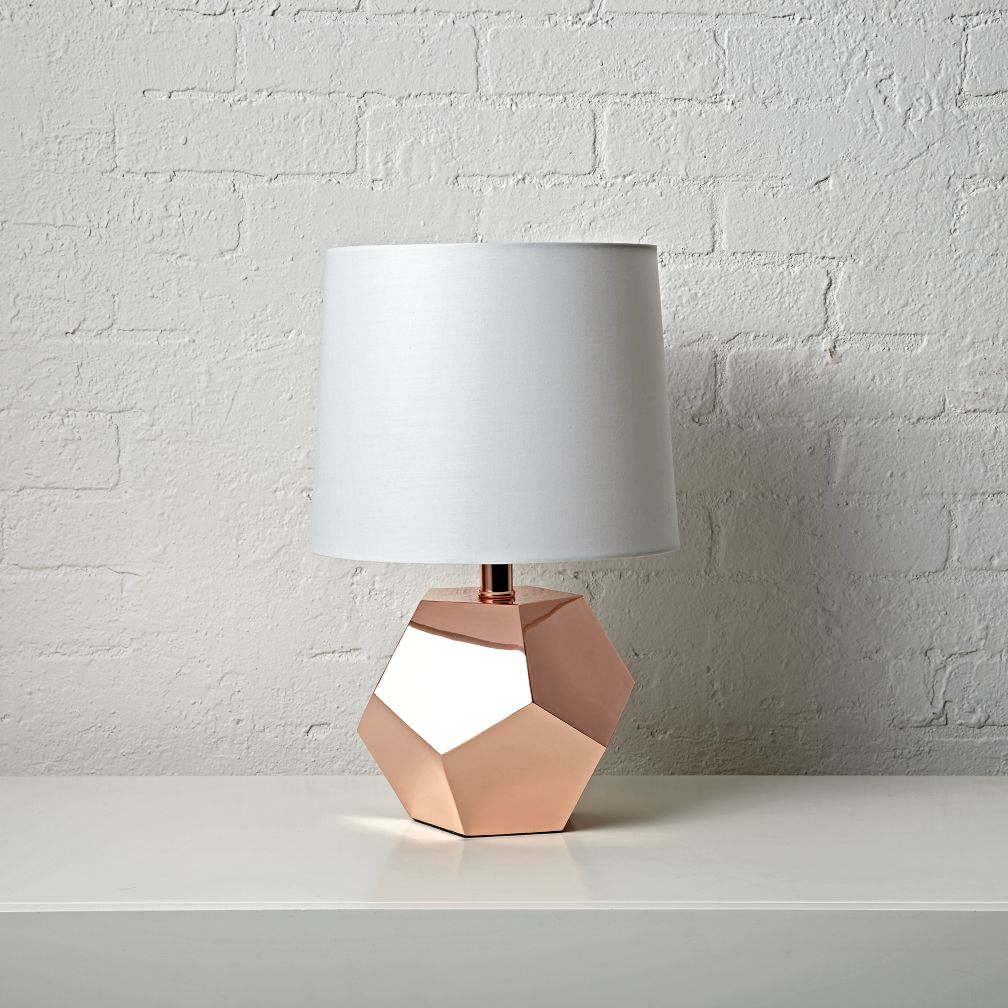 design chair covers to go barrel back chairs geometric rose gold table lamp | the land of nod