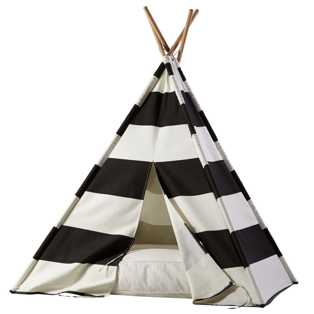 A Teepee  Cushion to Call Your Own Set Black Stripe