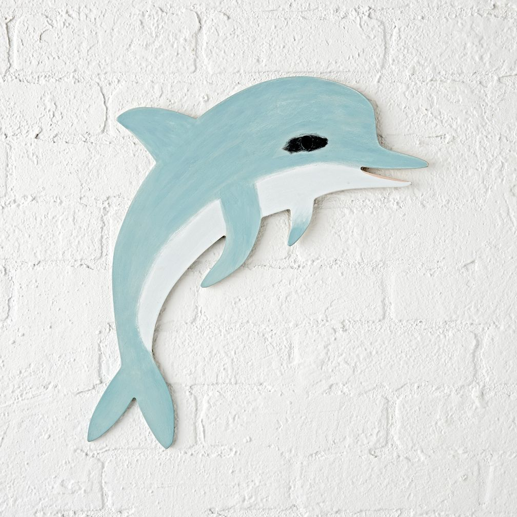 hanging bean bag chair animal pillow wooden dolphin wall decor | the land of nod