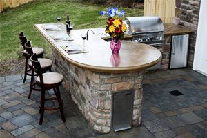 prefab outdoor kitchens kitchen wall mounted cabinets kits landscaping network concrete countertops mid atlantic enterprise inc williamsburg va pictures