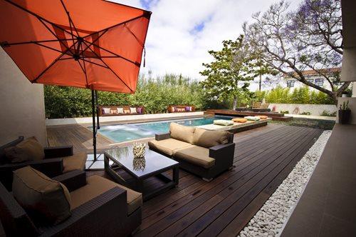 modern ipe pool deck - landscaping