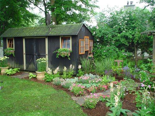 backyard garden sheds - landscaping