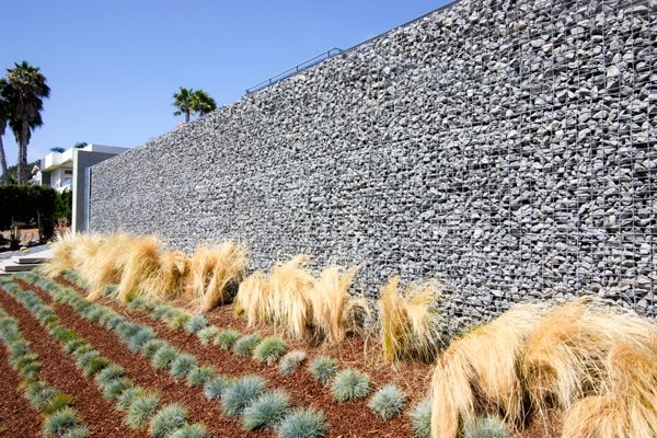 Tall Gabion, Gabion Wall Retaining and Landscape Wall Grounded - Modern Landscape Architecture & Planning Encinitas, CA