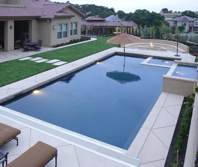 Custom Backyard Pool Inset Spa Modern Pool Landscaping Network Calimesa Ca