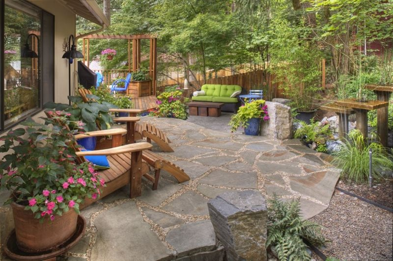 adirondack chairs portland oregon hickory chair furniture outlet landscaping or photo gallery network rustic garden container plantings decor flagstone water feature